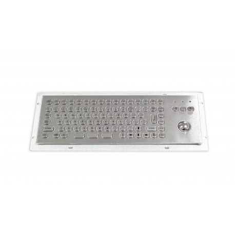 Mini compact stainless steel keyboard, vandal proof, 86 keys, IP65 with trackball