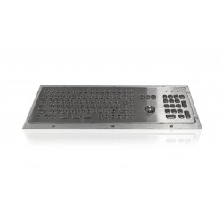 Mini compact stainless steel keyboard, vandal proof, 106 keys, IP65, with trackball