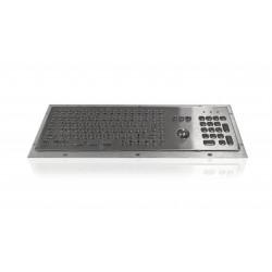 Tastiera industriale compatta in acciaio inossidabile IP 65, 106 tasti con trackball