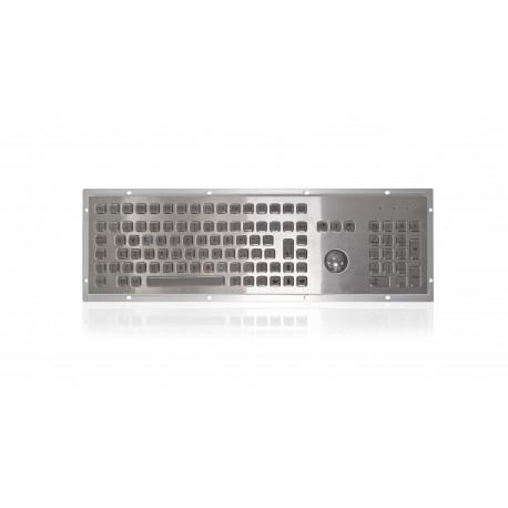 Tastiera industriale in acciaio inossidabile IP 65, 106 tasti con trackball