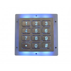 Industrial numeric keypad stainless steel, 12 keys, IP67