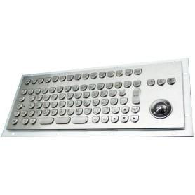 Stainless steel keyboard, vandal proof, 89 keys, IP65 with trackball