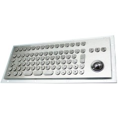 Stainless steel keyboard, vandal proof, 89 keys,  IP65 with trackball