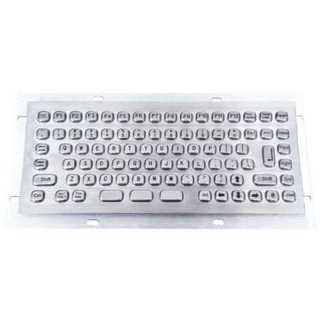 Mini compact stainless steel keyboard, vandal proof, 86 keys, IP65