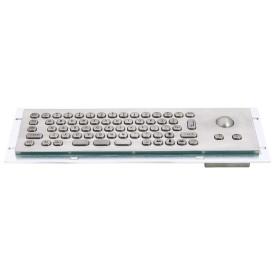 Mini compact stainless steel keyboard, vandal proof, 66 keys, IP65 with trackball