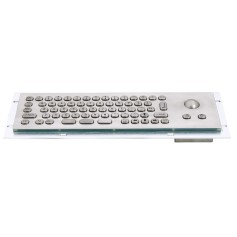 Mini compact stainless steel keyboard, vandal proof, 66 keys,  IP65 with trackball