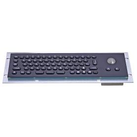 Mini compact stainless steel keyboard, vandal proof, 66 keys, IP65 with trackball (black version)