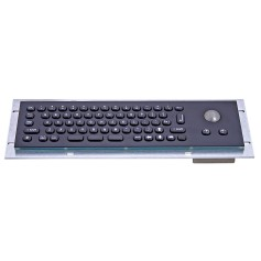 Mini compact stainless steel keyboard, vandal proof, 66 keys,  IP65 with trackball (black version)