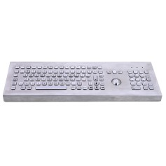 Stainless steel keyboard, vandal proof, 106 keys, IP65 with trackball