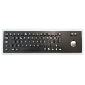 Stainless steel keyboard, vandal proof, 66 keys, IP65 with trackball (black version)