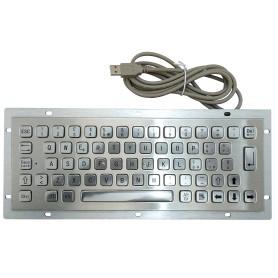 Stainless steel keyboard, vandal proof, 64 keys, IP65