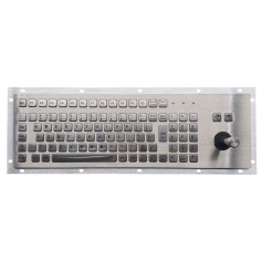 Stainless steel keyboard, vandal proof, 96 keys, IP65 with keypad and joystick