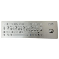 Stainless steel keyboard, vandal proof, 66 keys, IP65 with trackball