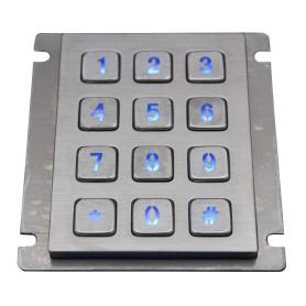 Tastierino numerico industriale in acciaio, 12 tasti, IP67