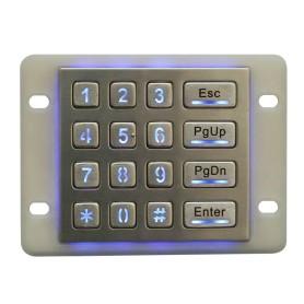 Stainless steel industrial numeric keypad, 16 keys, IP65