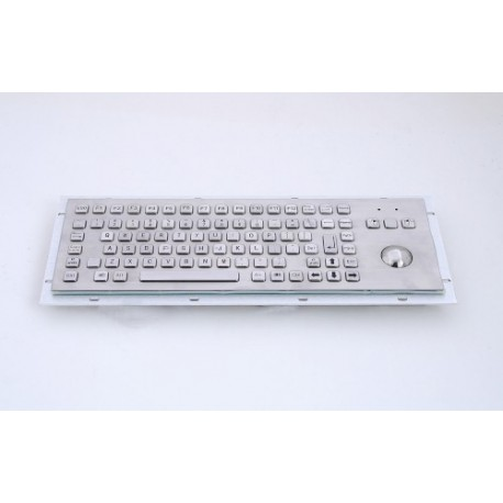 Stainless steel keyboard, vandal proof, 83 keys, IP65 with trackball