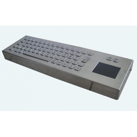 Stainless steel keyboard, vandal proof, 66 keys, IP65 with touchpad