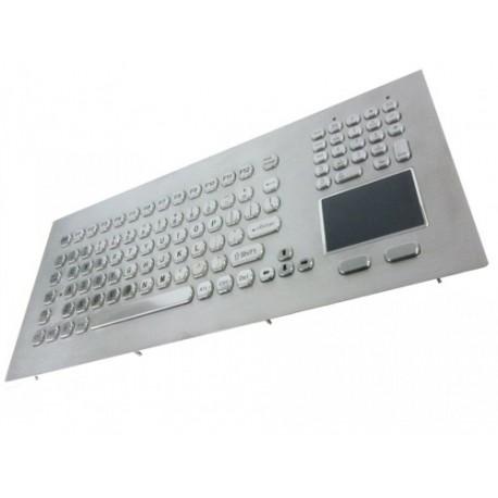 Stainless steel keyboard, vandal proof, 104 keys, IP65 with trackball