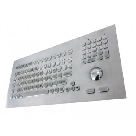 Tastiera industriale in acciaio inossidabile IP 65, 104 tasti con trackball